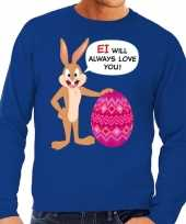 Paas sweater ei will always love you blauw voor heren