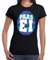Paasei t-shirt zwart met blauw ei voor dames