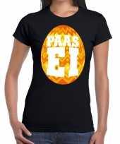 Paasei t-shirt zwart met oranje ei voor dames