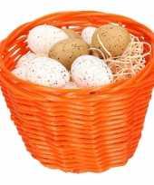 Paasmandje met kwartel eieren 14cm 10104058