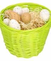 Paasmandje met kwartel eieren 14cm 10104061