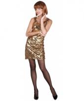 Pailletten jurkje goud voor dames 10068951