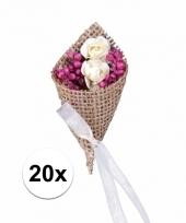 Pakketje jute bruidscorsages 20 stuks