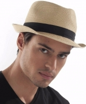 Panama hoeden met zwarte band