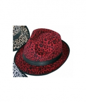 Panter print hoed rood trilby model