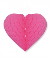 Papieren honeycomb hart fuchsia roze 15 x 18 cm