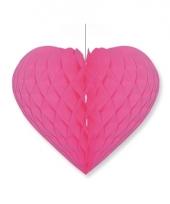 Papieren honeycomb hart fuchsia roze 28 x 32 cm
