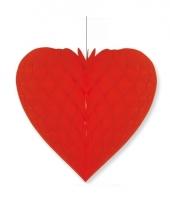 Papieren honeycomb hart rood 28 x 32 cm