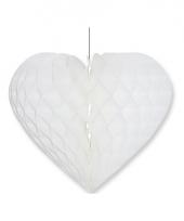 Papieren honeycomb hart wit 15 x 18 cm