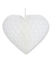 Papieren honeycomb hart wit 28 x 32 cm