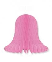 Papieren klok roze 20 cm