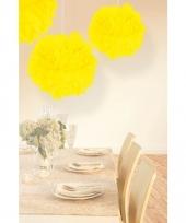 Papieren pompom bollen neon geel