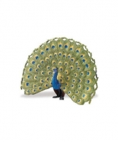 Pauw blauw van plastic 11 cm