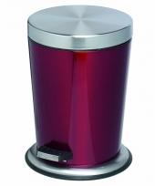 Pedaal vuilnisbak roestvrijstaal 5l glanzend rood