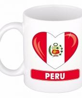 Peruaanse vlag hart mok beker 300 ml