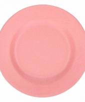Picknick bordjes van bamboe vezel roze 17 5 cm
