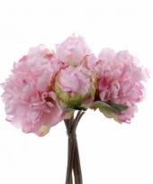 Pioenrozen boeket roze nep bloem 25 cm