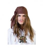 Piraat bandana met pruik