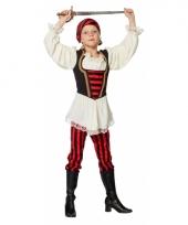 Piraat verkleedoutfit rood zwart voor kinderen 10083259