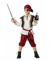 Piraat verkleedoutfit rood zwart voor kinderen