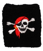 Piraat zweetbandje met schedel