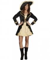 Piraten outfit met jasje zwart goud