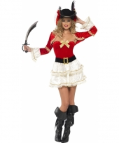 Piraten outfit rood voor dames