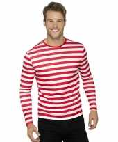 Piraten t-shirt wit met rood voor volwassenen