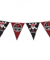 Piraten vlaggenlijn versiering zwart rood