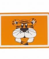 Placemat oranje met tijger 44 cm