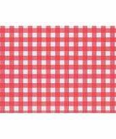 Placemats rood wit geblokt 43 x 30 cm