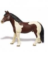 Plastic dieren bruin wit paardje merrie 12 cm
