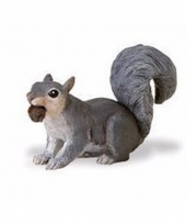 Plastic dieren eekhoorntje grijs 7 cm