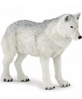 Plastic dieren witte wolf 9 5 cm