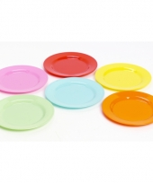 Plastic gekleurde picknick bordjes 6 stuks