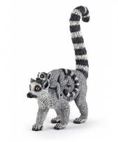 Plastic papo dier ringstaart aapje met baby 12 cm