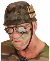 Plastic soldaten helm met kogels