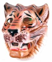 Plastic tijger masker bruin voor volwassenen
