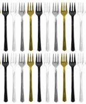 Plastic wegwerp vorken goud en zilver