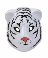 Plastic witte tijger masker 3d van 22cm