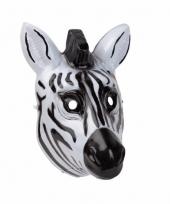 Plastic zebra masker 3d van 22cm