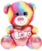 Pluche beren grote knuffel regenboog 80 cm