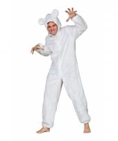Pluche beren pak wit voor volwassen