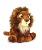Pluche bruine leeuw knuffel zittend 30cm