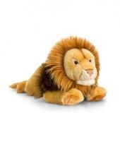 Pluche bruine leeuw knuffeldier liggend 46cm