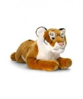 Pluche bruine tijger liggend 46cm