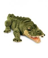 Pluche groene alligator krokodil knuffeldier liggend 66cm