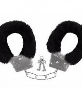Pluche handboeien zwart voor volwassenen