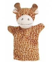 Pluche handpop giraffe 23 cm