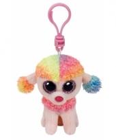 Pluche hond poedel knuffel sleutelhanger rainbow ty beanie 12 cm